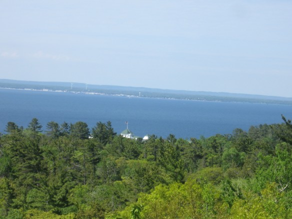 Looking across to Mackinaw City, you can see the huge wind turbines that help provide electricity to that town.