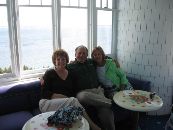 "The ""three of us"" high above the Straits of Mackinac"
