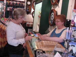 """Cathie with Karen at La Galerie, Inc.  Karen opened """"Pandora's"""" box for Cathie (in fact she opened several boxes of those beads, and I swear Cathie bought one from every box."""