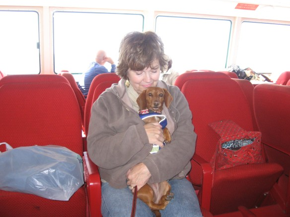 Me and Mom on the ferry. This was one of those cold days when Cathie and Charlie were here.