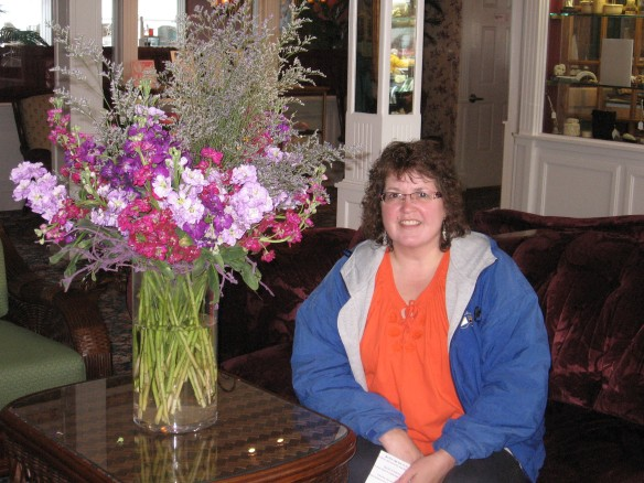 Mary in the lobby of the Chippewa Hotel