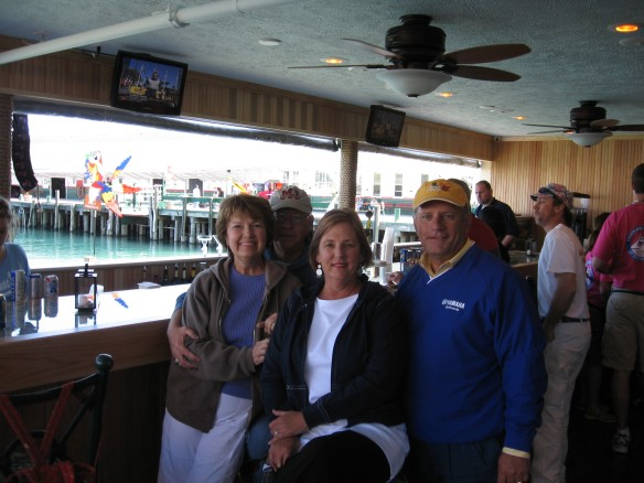 Tommy, Sandi, Ted and I at the grand opening of the Pink Pony outside bar this afternoon.  It was a beautiful day on Mackinac Island!