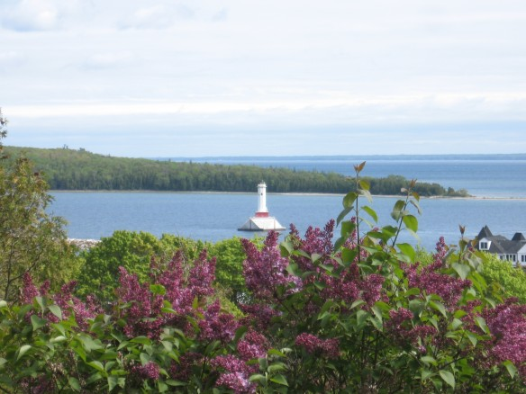 Lighthouse through lilacs at the top of Fort Street