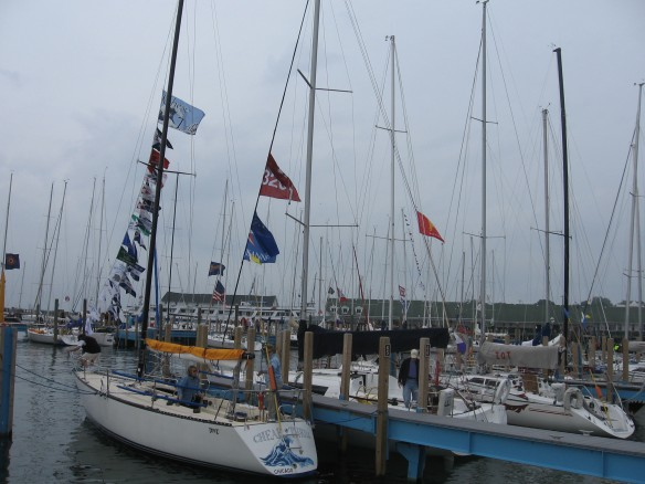 Masts and flags.