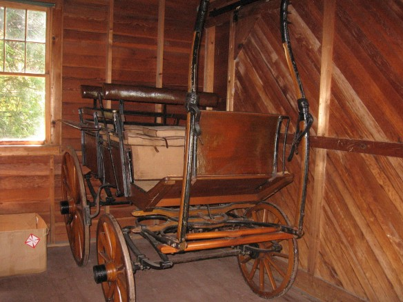 A hunting buggy with a backseat that will flip so hunters could face either direction.