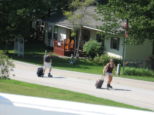 Here's a new way to get up the hill with luggage - rollerblading!