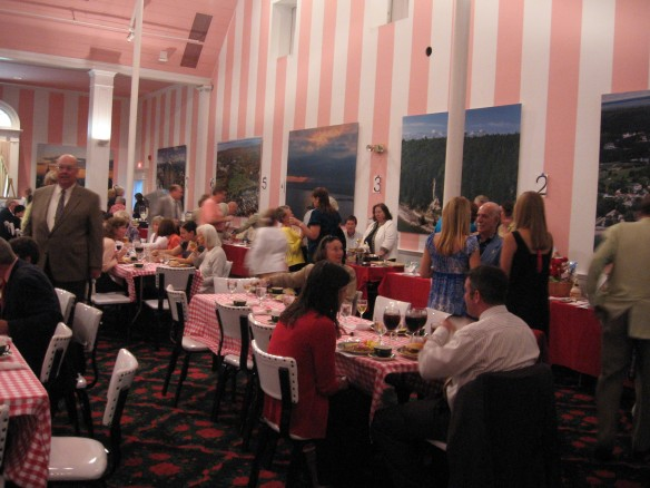 The room was surrounded by tables on which donated items were available for silent auction.