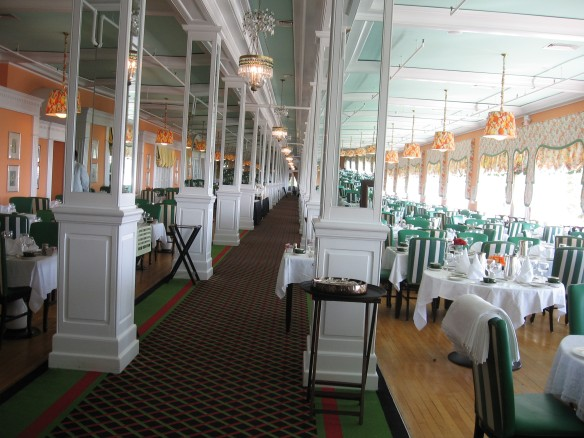 The main dining room of The Grand, Salle a Manger, is a 3,400 square foot room that seats over 750 guests.  A five course dinner and full breakfast are included in the room rate.  Over 100 people make up the kitchen staff, and the Executive Chef oversees as many as 4,000 meals a day.