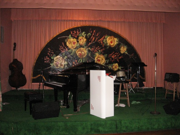 The stage of the Terrace Room, where the world famous Grand Hotel Orchestra fills the dance floor with the best big band dance music in the country.