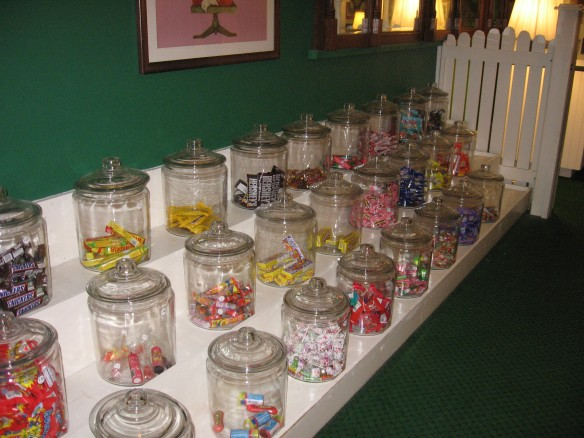 Rows of candy jars, filled with every imaginable treat, fill the shelves in the children's center.