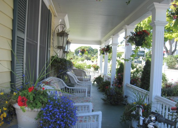 The front porch of the Bay View.  Settle into a wicker rocker and people watch!