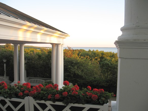 The Grand portico and geraniums as the sun begins to set.