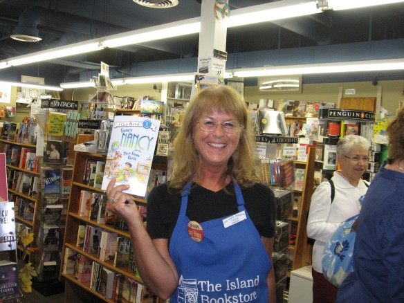 Tamara, an Island Bookstore worker, who first started giving Bear and Maddie treats over the counter.