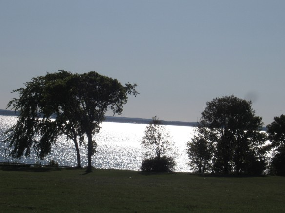 Lake Huron this afternoon from the playground behind the school.