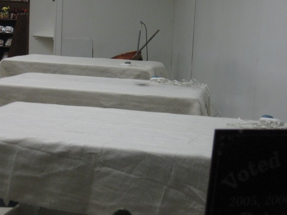 "Remember the story I did on the fudge maker?  The temperatures now at night are so cold, electric blankets are placed on the marble slabs.  In the morning, the blankets will be removed, and the tops will be the right temperature to ""set"" the fudge."
