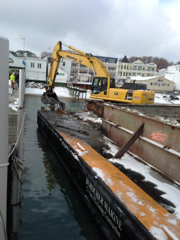With water levels so low in the Great Lakes, Shepler's spent one day last week doing some dredging at their ferry dock at the Island and in Mackinaw City.  (Photo: Shepler Ferry)