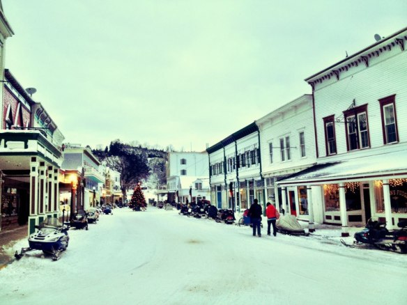 Nearing sundown on Main Street - Christmas Eve.  (Photo: Mission Point Resort)