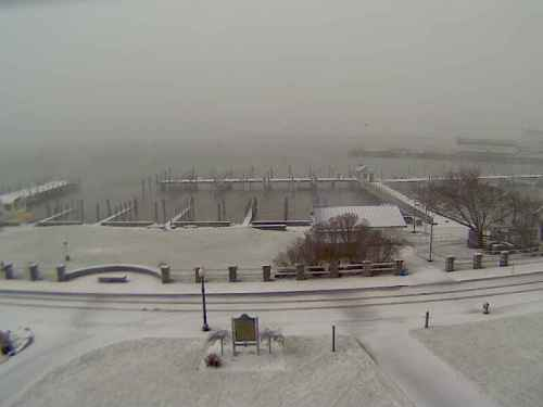 The snow began on December 20, and one of the first places I went to look was the Island House webcam.