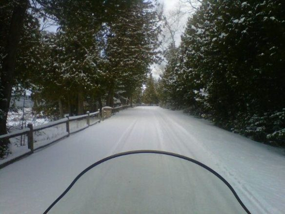 Looks like the day was gray, but Jeff sure managed to have a lot of fun skimming over the snow-covered lanes.