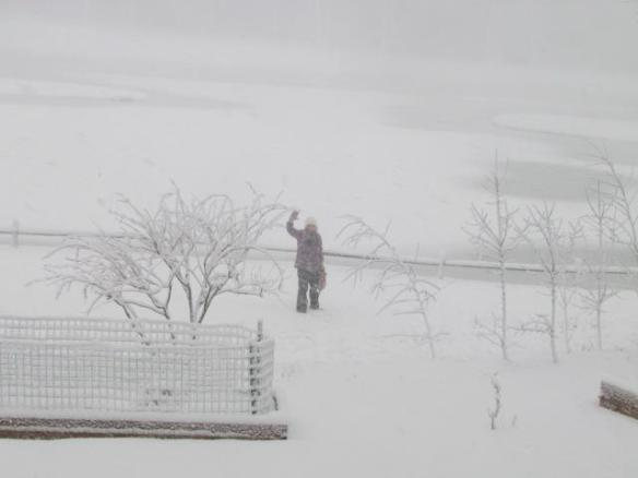 This is friend Joan Barch hiking over to a friend's house for a knitting circle - in the snowstorm!