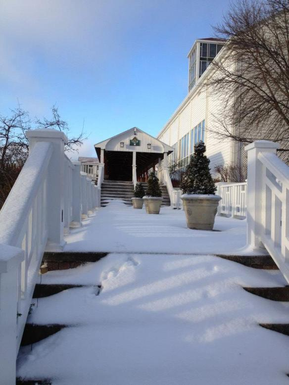 Steps leading up to the Activity Center at Mission Point Resort.  (Photo: Mission Point Resort)