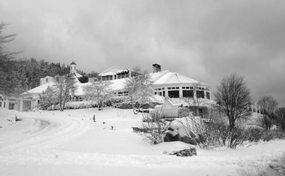 Mission Point Resort stands on its hill - covered in snow, quiet, lovely.  (Photo: Mission Point Resort)