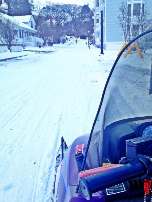 A snowmobile's eye view.  (Photo: Heather May)
