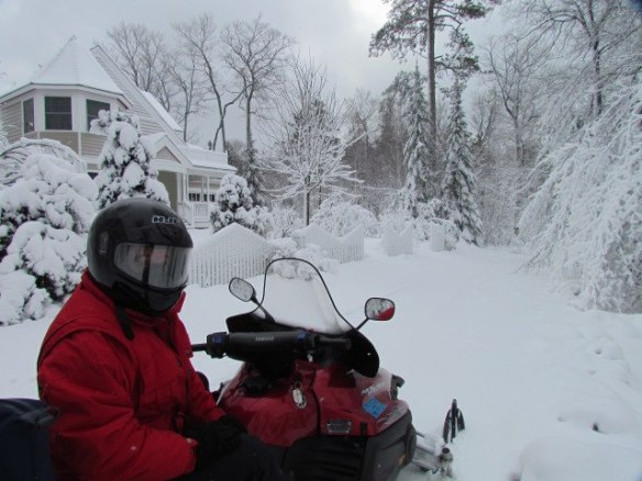 "Orietta says Steve is ""one happy man"" when the snow is deep and the snowmobile can be brought out for travel."