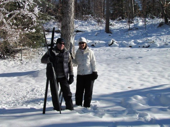 About to go cross country skiiing, Steve and Orietta are all bundled up against high temps in the 20's.