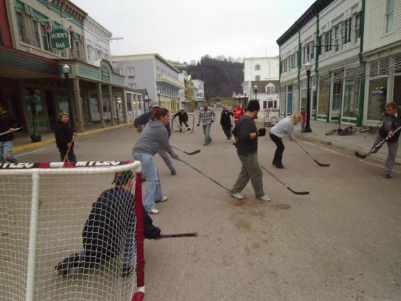 Lots of street hockey gets played during a Mackinac Island winter! (Photo: Greg Main)