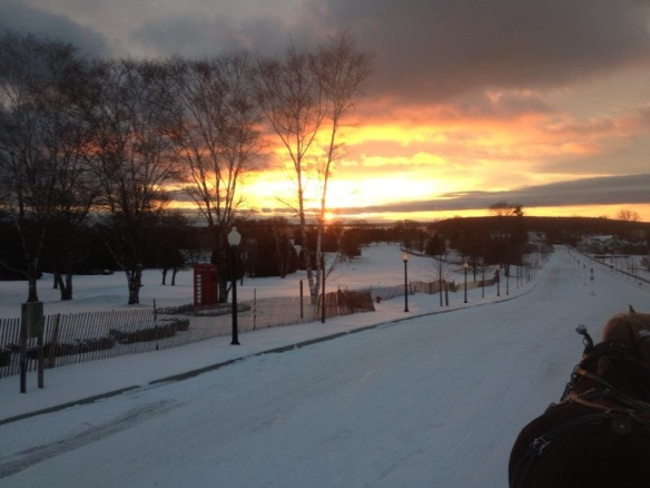 Ray Card captured the sunrise on December 11 as he drove his team toward town . . .