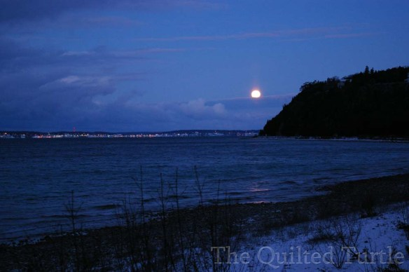 Blissful photo of the moon setting over the West Bluff last Thursday morning.  (Photo: Liz Burt)