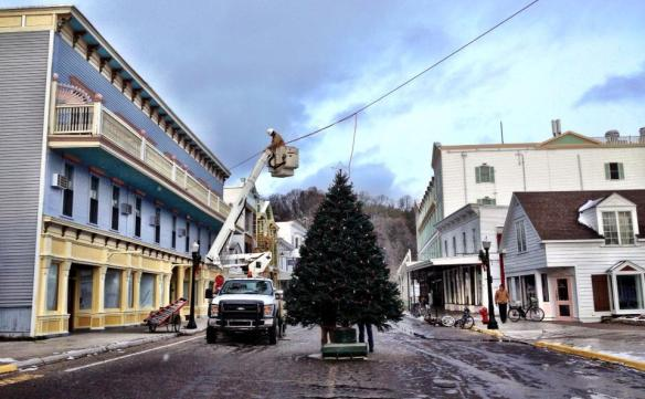 Cloverland Electric - putting the final touches on the preparation for lighting the Christmas tree.(Photo: Mission Point Resort)