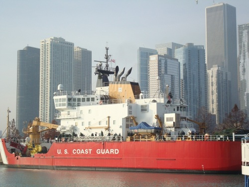 The arrival of the U.S. Coast Guard cutter Mackinaw..