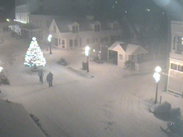 A Horn's Bar webcam shot Friday night after the tree lighting ceremony.
