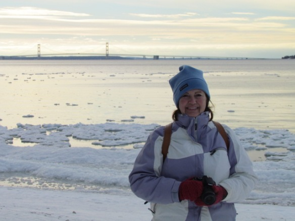 British Landing, with ice along the shore, the Mackinac Bridge in the background, and me layered up to barely-able-to-move status.