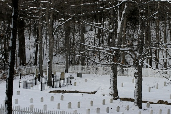 . . . and the Fort Cemetery, covered in white.