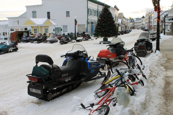 Main Street was lined with snowmobiles.  Many islanders had gone off on the ferry that morning and would be returning at 4 p.m. - the same boat we would take back to the mainland.  The Saturday ferry is always busy because there is no Sunday ferry at all.