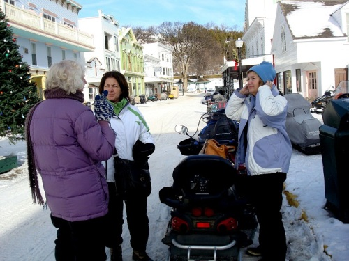 The plan was for Orietta and Joan to ride us around exploring on their snowmobiles.  Patrick was going to ride with Jeff, and Sue and Terry wanted to just explore on foot.