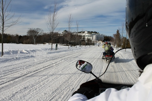 Off we go - up Cadotte toward the Grand.  You can sure cover a lot of ground quickly on a snowmobile!