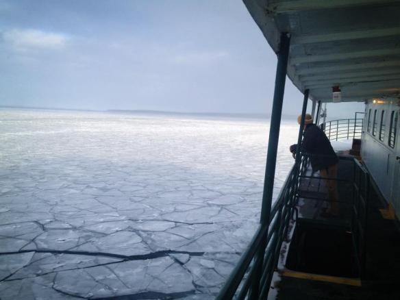 Crossing the Straits through the ice.  (Photo:  Horn's Bar)
