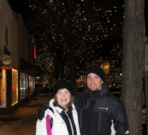Blake and I in downtown Ft. Collins, CO, where the trees are filled with white twinkling lights all winter long.
