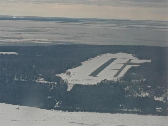 The Mackinac Island Airport from a Great Lakes Air plane. (Photo: Robert McGreevy)