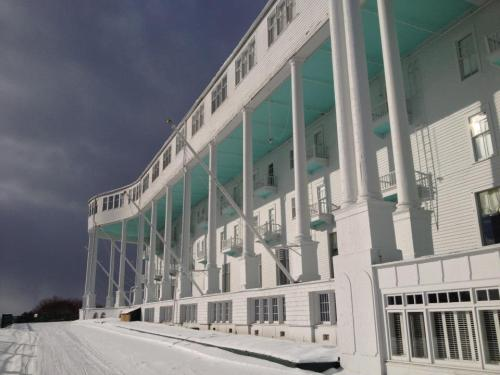 The Grand Hotel sits in icy splendor.  I cannot imagine how cold it has to be inside right now.