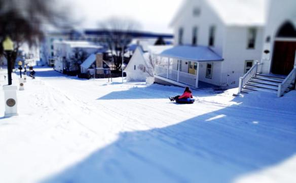 Don't know who took this photo, but I think that's Heather May on her birthday doing some sledding down Fort Street!