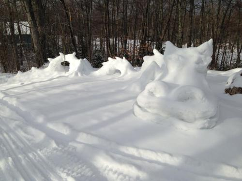 Snow dragon!  James Barch created this amazing sculpture in his yard on the Island.  This talented young man also creates beautiful pottery.