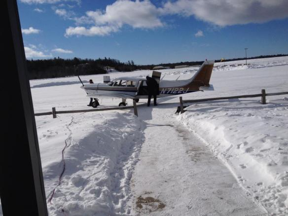 About to board the plane in St. Ignace for the five-minute hop to the Island.  (Photo: Patrick Conlon)