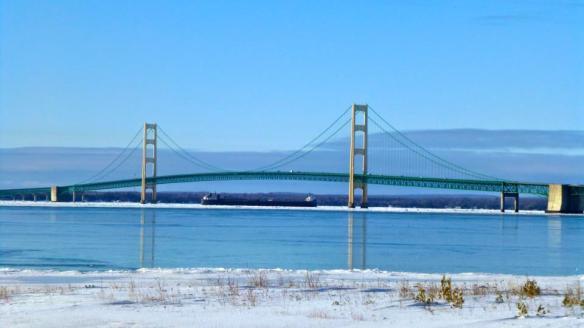 The freighter Algosoo makes it way under the bridge.