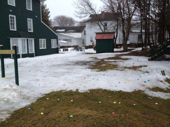 The lot across the street from Cawthorne's Village Inn was covered in brightly colored eggs!