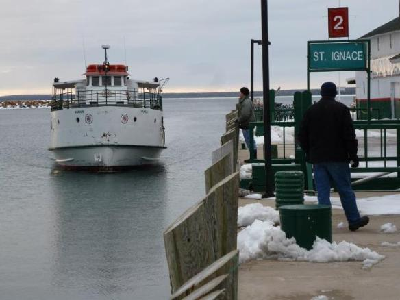 First boat of the season arrives at Mackinac.